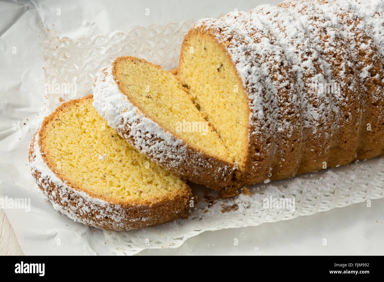 Dolce Varese, made with corn flour and ground almonds, from Varese, Lombardy, Italy Stock Photo