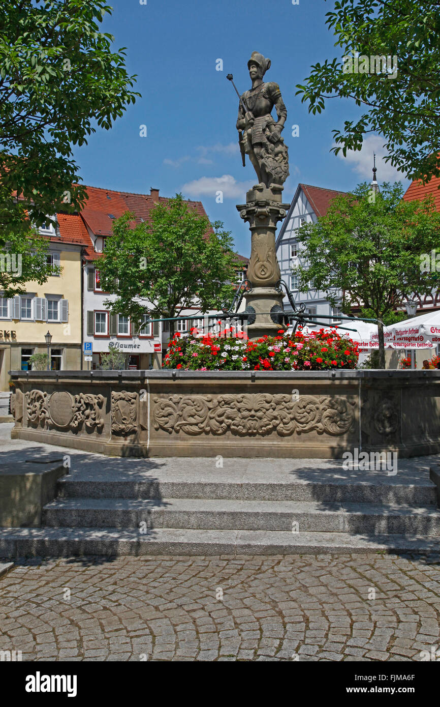 geography / travel, Germany, Baden-Wuerttemberg, Öhringen, squares, marketplace, Count Albrecht fountain, built - Stock Image