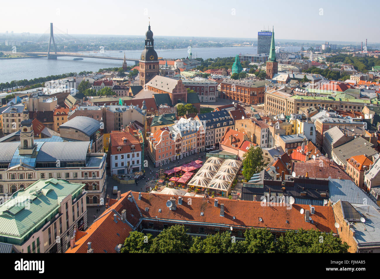 geography / travel, Latvia, Riga, view from the St. Peter's Church (Petrikirche) towards Daugava and old town, - Stock Image