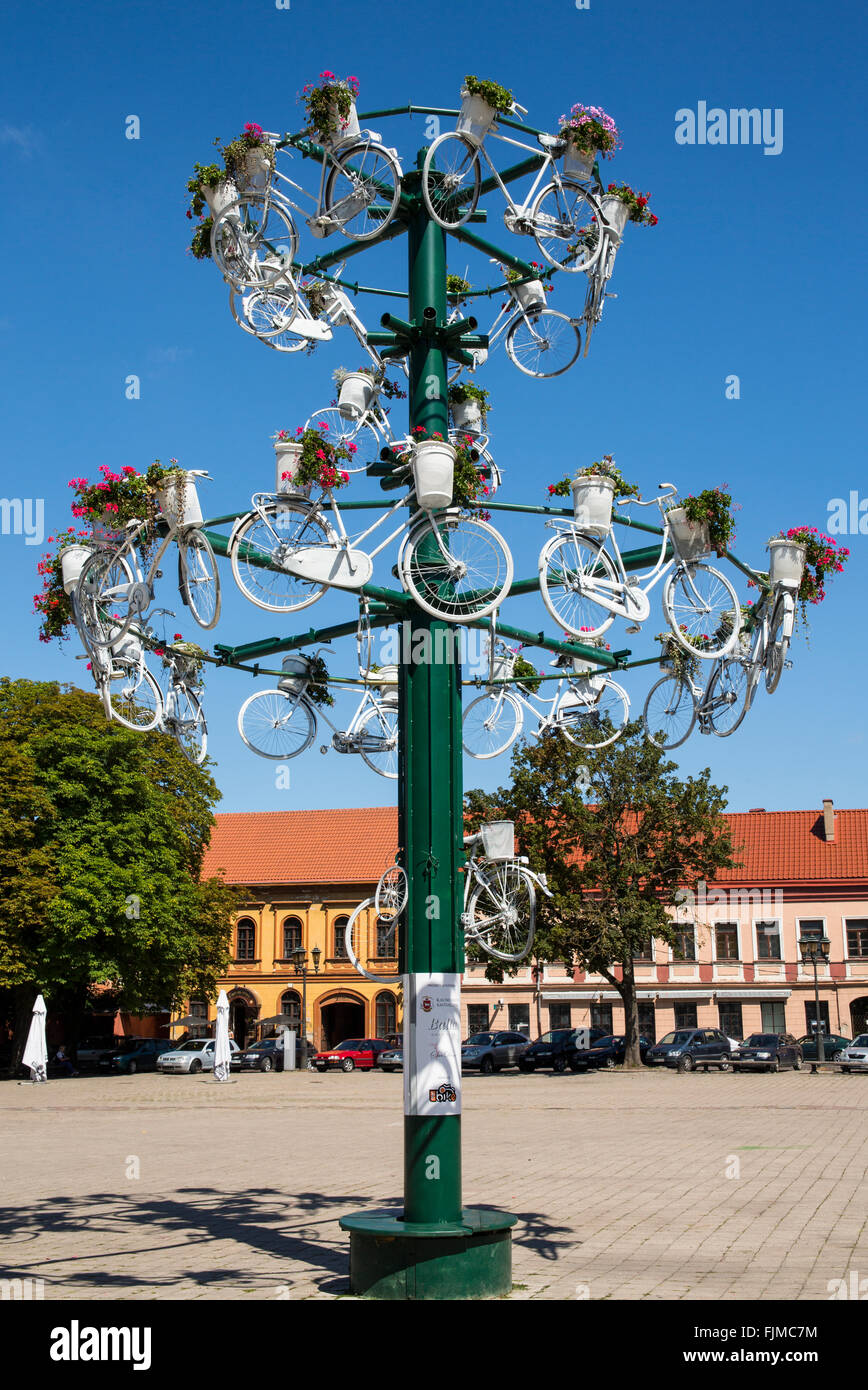 geography / travel, Lithuania, Kaunas, townhall square with bicycle sculpture, Additional-Rights-Clearance-Info - Stock Image