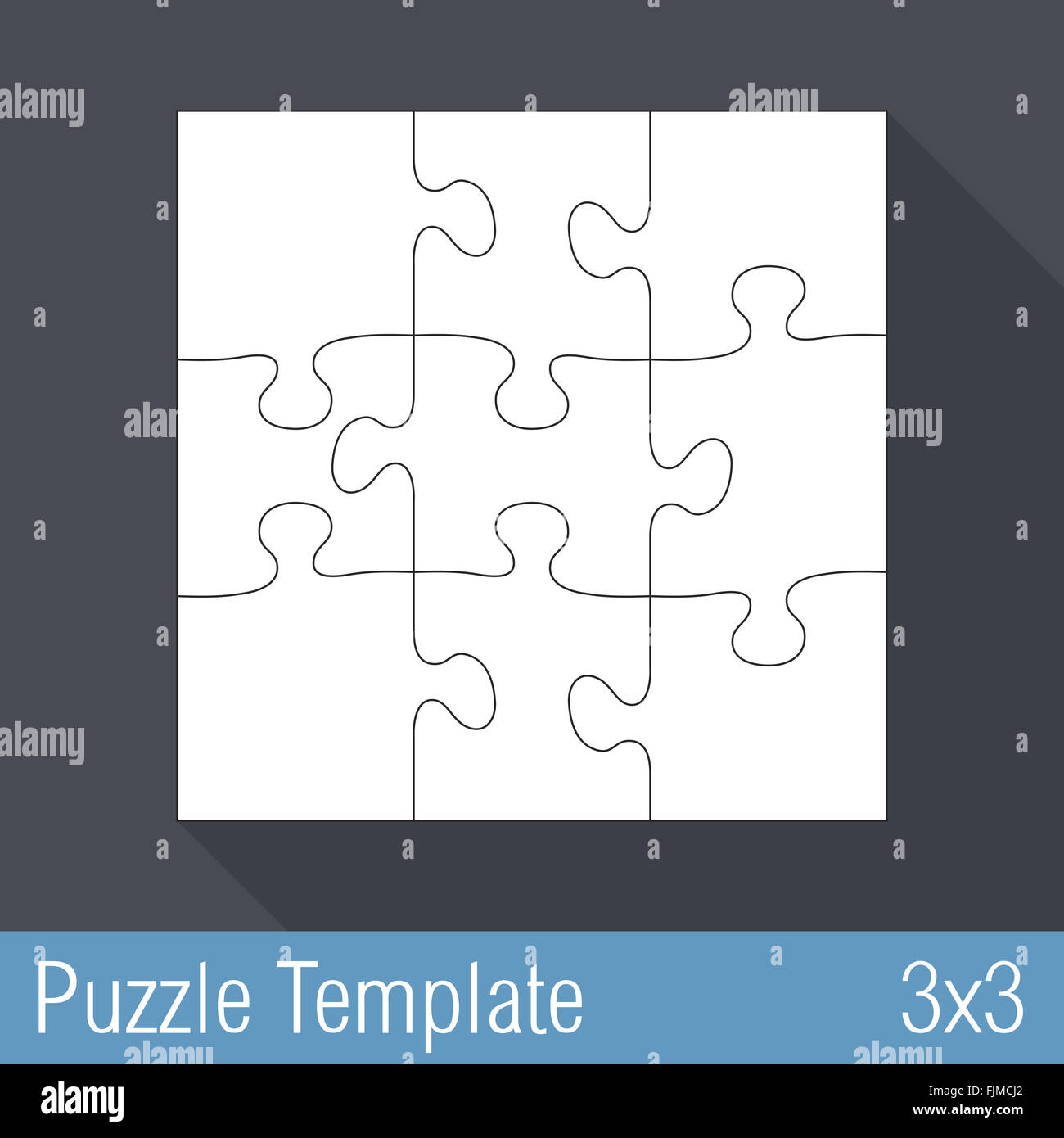 Square jigsaw puzzle template 3x3 pieces Stock Photo: 97564602 - Alamy