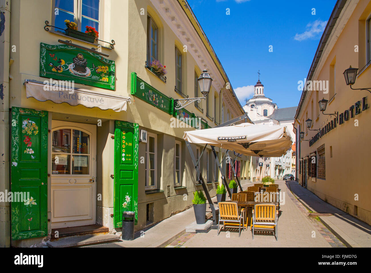 geography / travel, Lithuania, Vilnius, alley in the old town, Additional-Rights-Clearance-Info-Not-Available - Stock Image