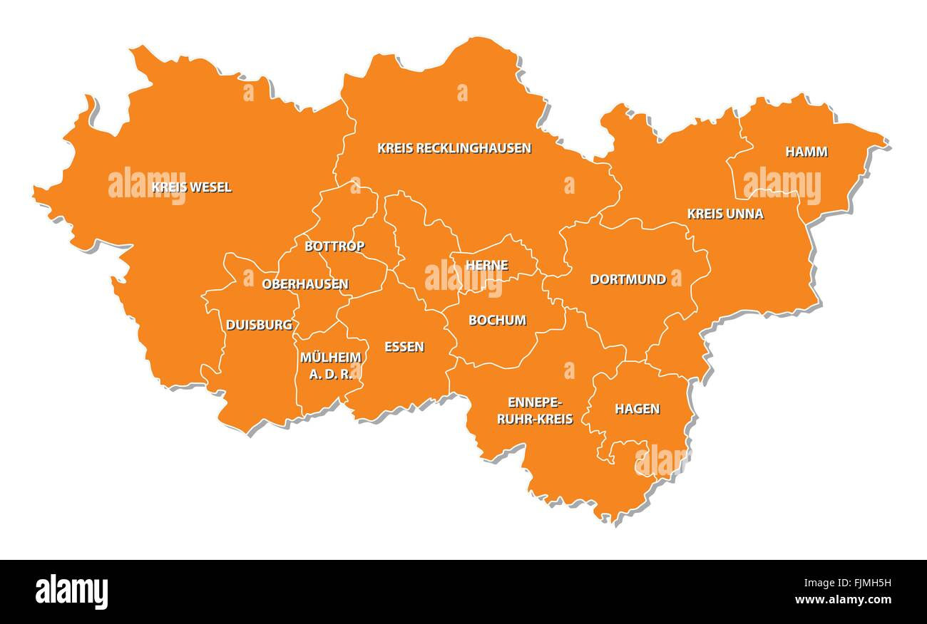 simple outline map of the Ruhr region in Germany - Stock Image