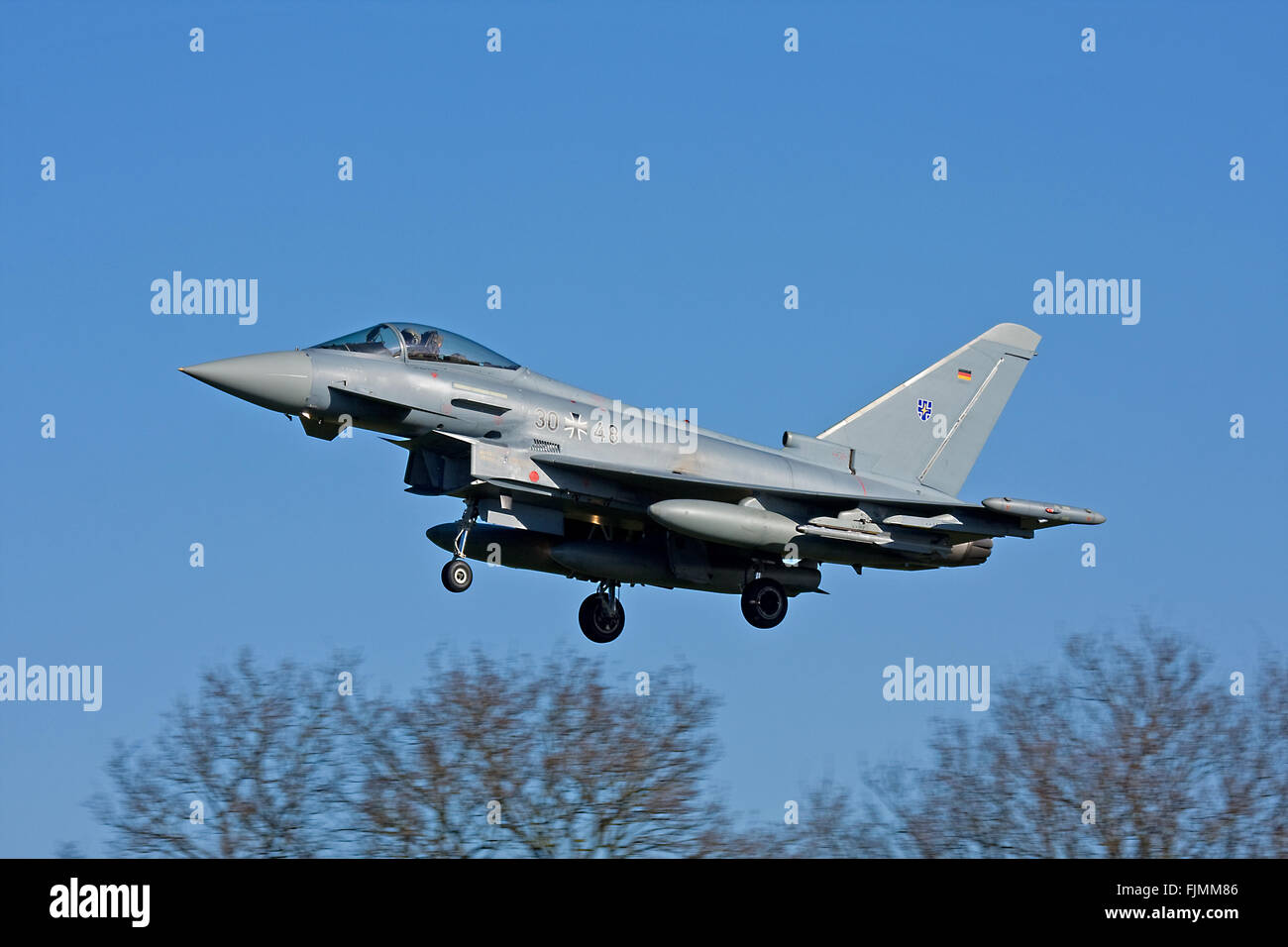 RAF Coningsby, UK. 03rd March 2016. German Air Force, Luftwaffe, Eurofighter Typhoons arrive at RAF Coningsby for Stock Photo