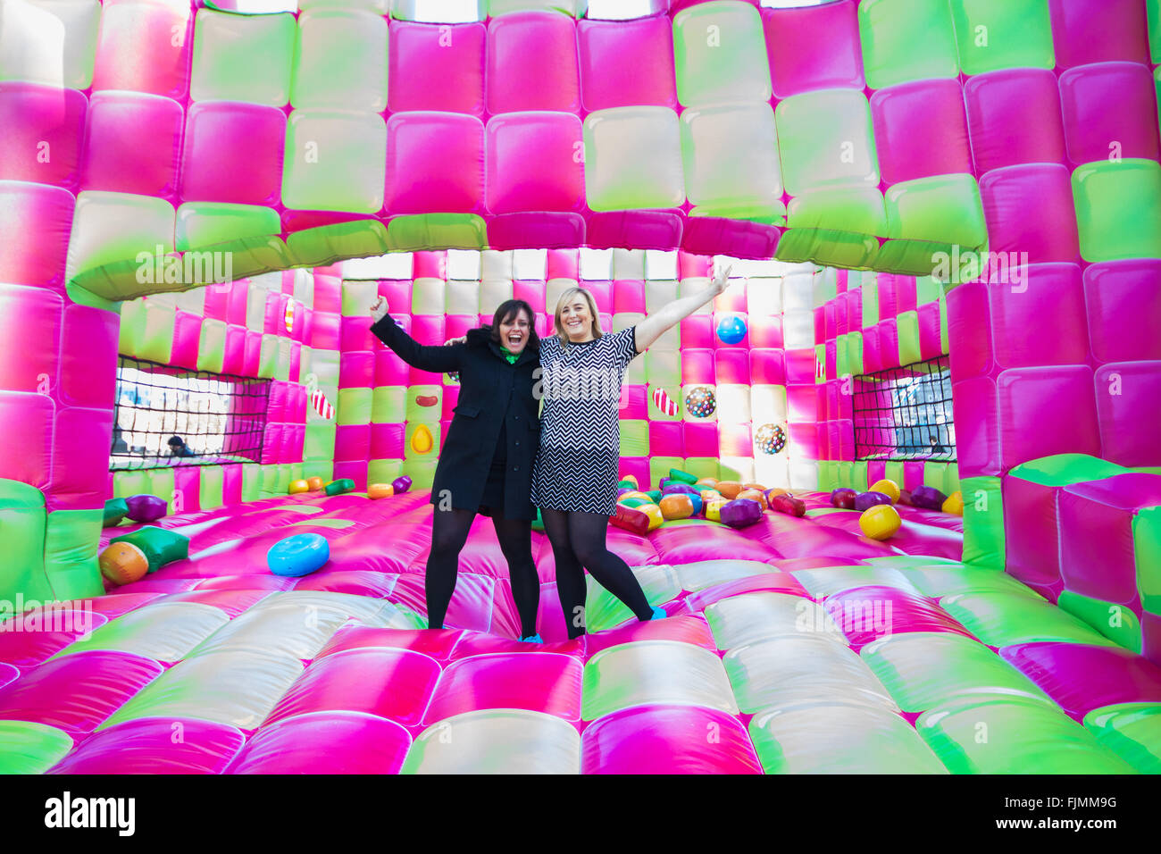 march 3rd 2016 a jelly themed adults only bouncy castle which has been created to celebrate the launch of candy crush jelly saga opens on londons