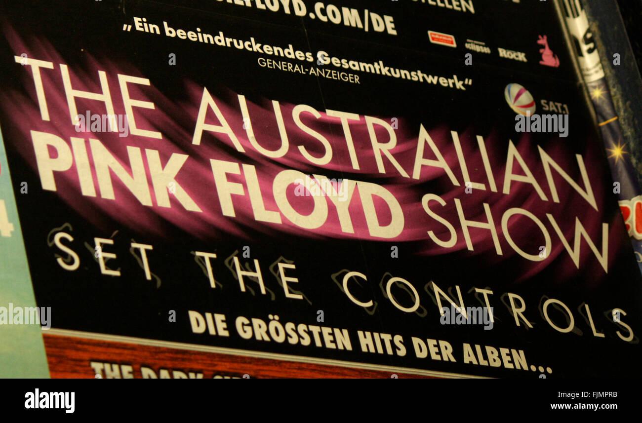 Vorankuendigung fuer ein Konzert der Band 'The Australian Pink Floyd Show', Berlin. - Stock Image