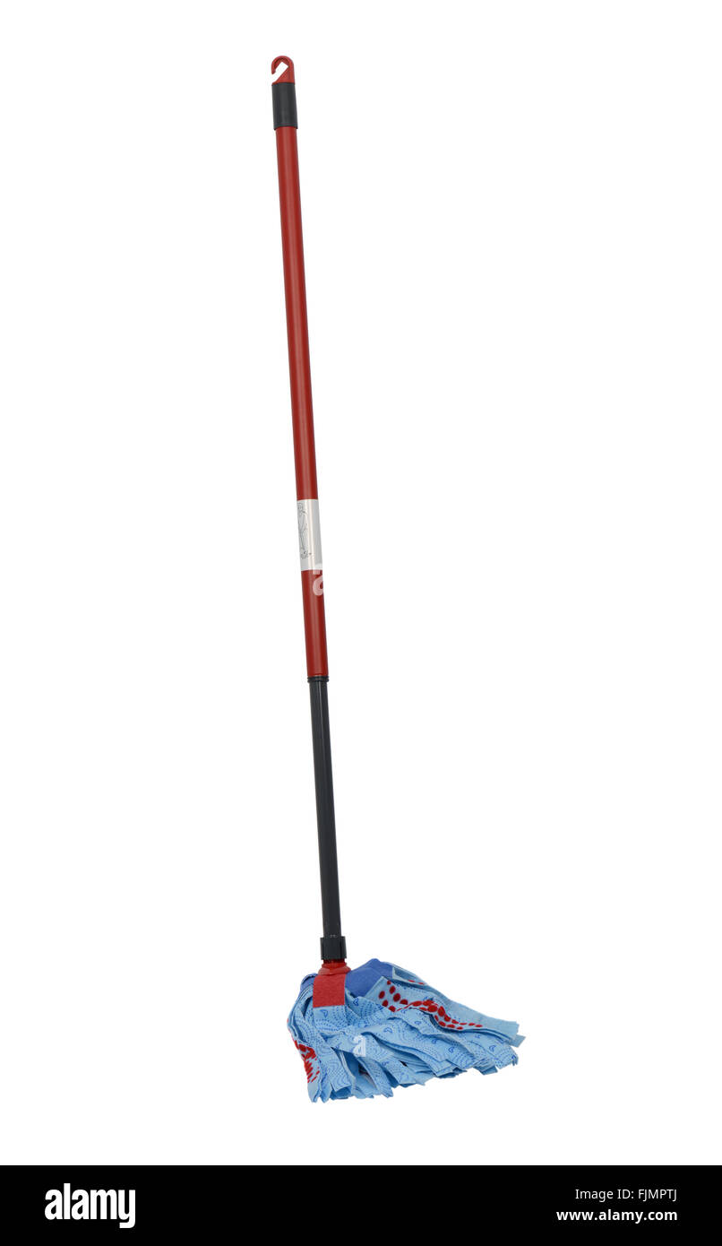Mop on white background, cut out of a mop - Stock Image