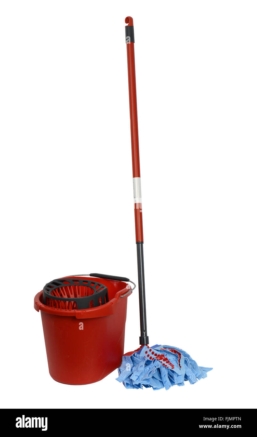 Mop and red bucket on white background, cut out of a mop and bucket - Stock Image