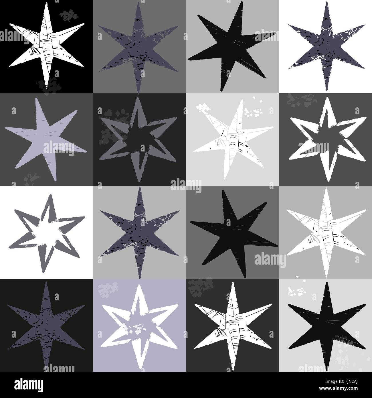 Retro Grunge Stars Seamless Pattern In Vector Fashionable Paper Design Stamping Stamp Paint