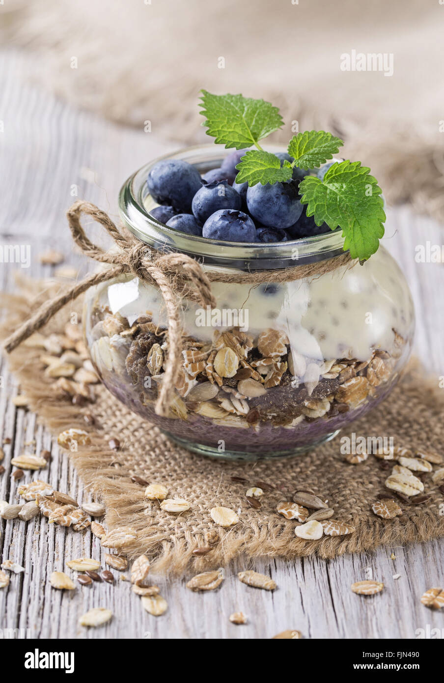 Chia seeds pudding with  blueberries - Stock Image