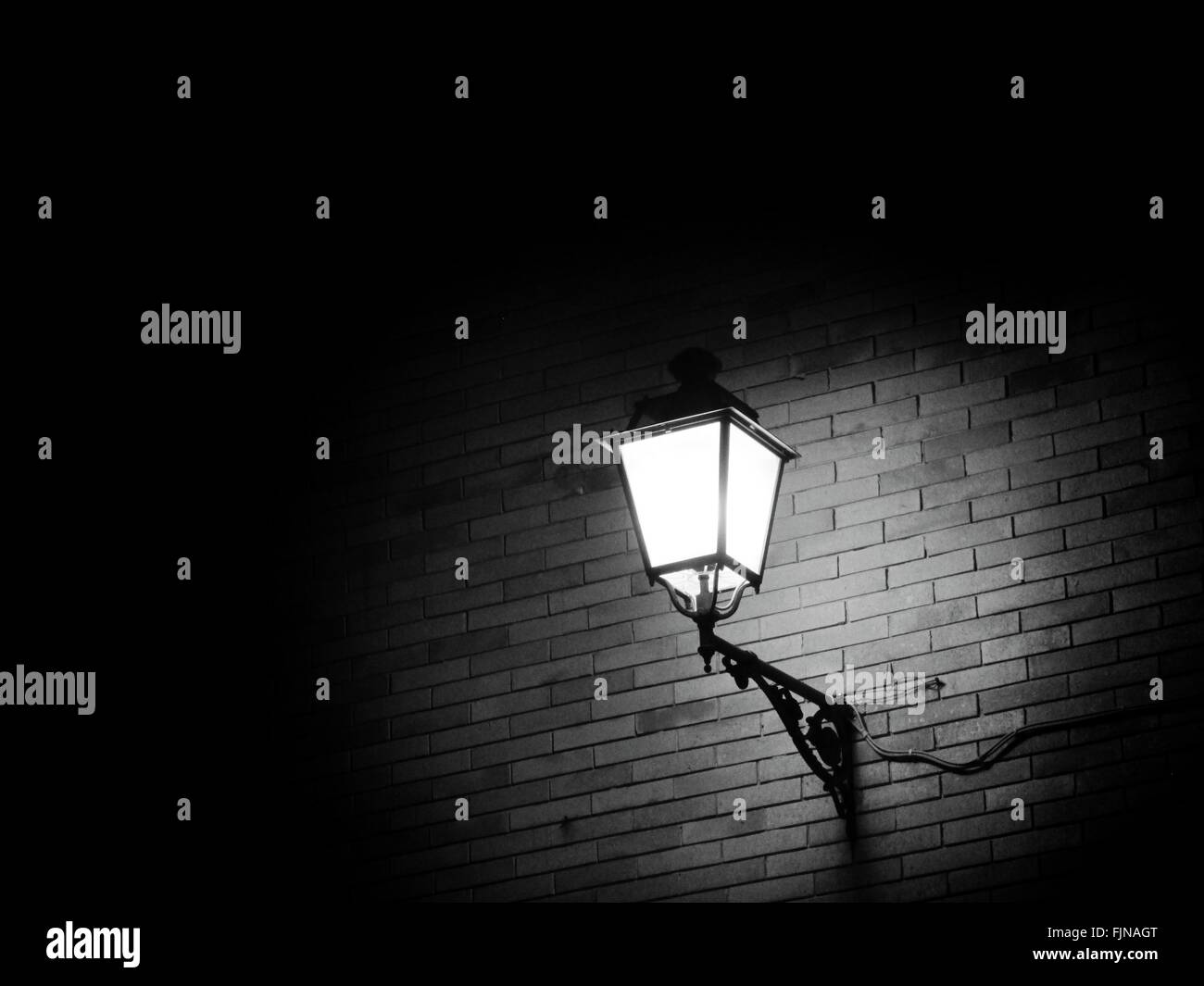 Illuminated Street Light Wall Night Connection Stock Photos