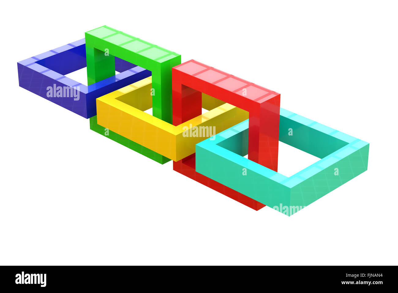 3d rendering of a close-up of three-dimensional linked squares of different colors. White background, isolated - Stock Image