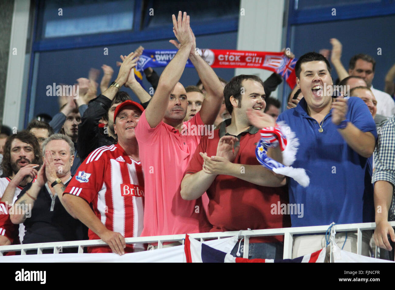 KYIV, UKRAINE - September 15, 2011: FC Stoke City supporters show their support during UEFA Europa League game against - Stock Image