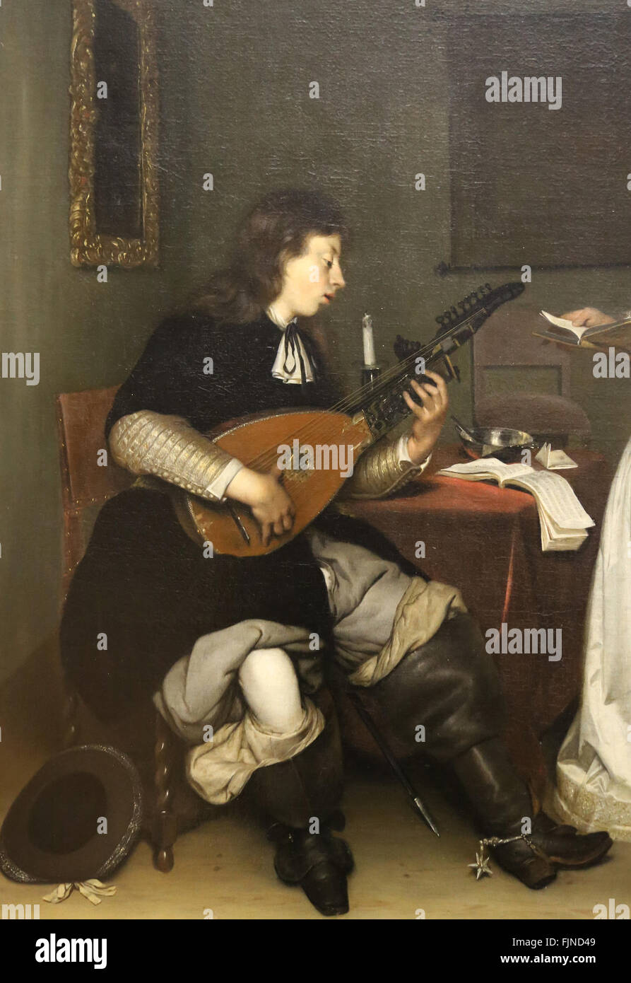Gerard ter Borch (1617-1681). Dutch genre painter. Dutch Golden Age. the duet. Singer and Theorbo lute player, 1669. - Stock Image