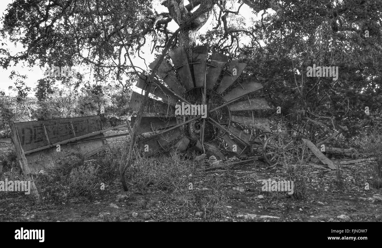 Abandoned Water Wheel On Field - Stock Image
