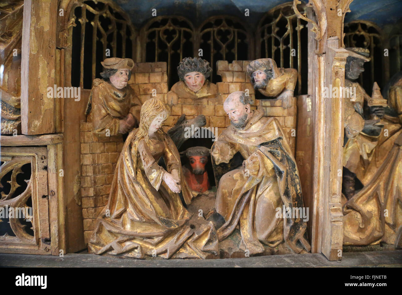 Late Gothic. Altarpiece of passion and  Christ's childhood. Wood. polychrome. From Saint Sulpice of Chalons - Stock Image