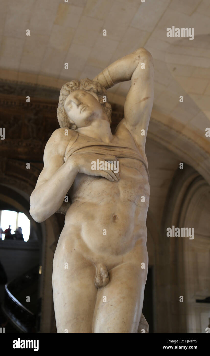 Dying slave. Sculpture by the Italian Renaissance Michelangelo. 1513-1516. Tomb of Pope II. Marbre. Louvre Museum. - Stock Image