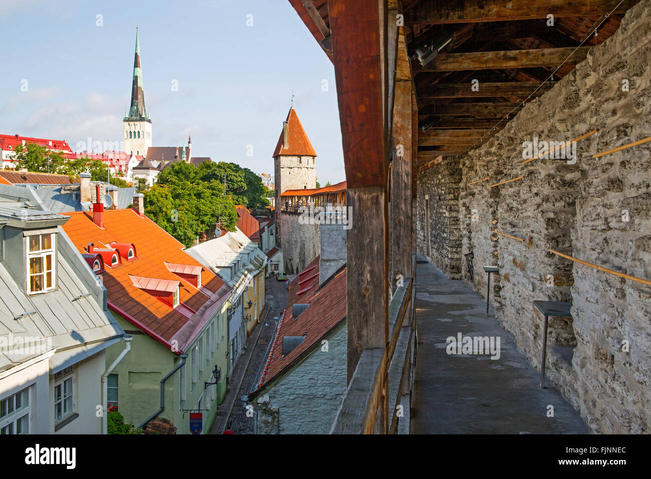 geography / travel, Estonia, Tallinn, wall-walk of the city wall, Additional-Rights-Clearance-Info-Not-Available Stock Photo