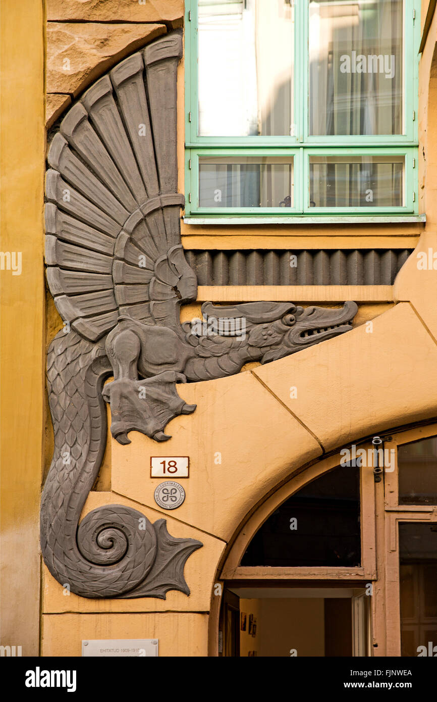 geography / travel, Estonia, Tallinn, Art Nouveau house entrance, Additional-Rights-Clearance-Info-Not-Available Stock Photo