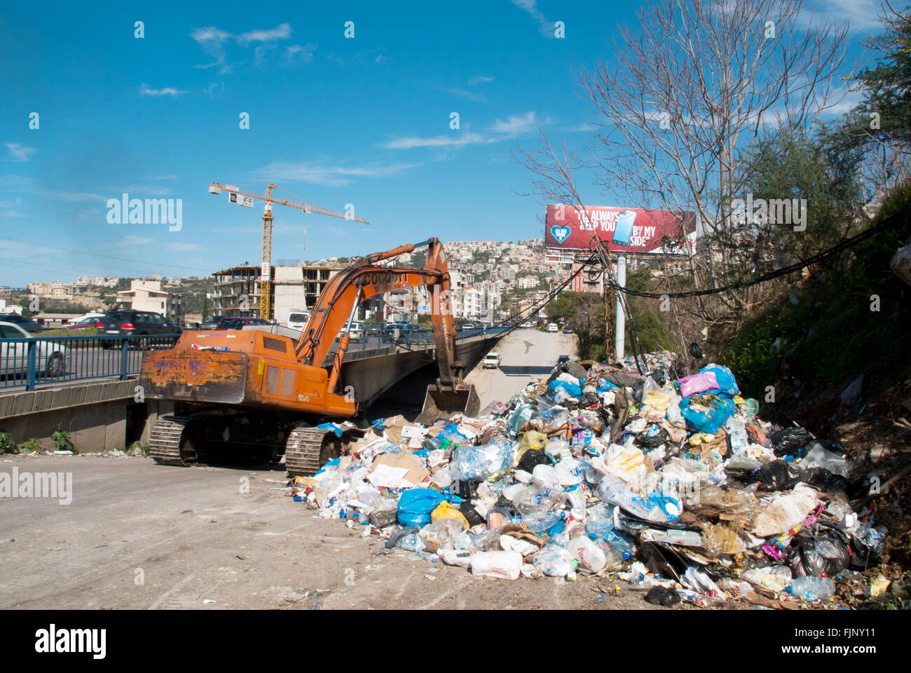 Asian Employees Of Lebanese Waste Management Pany Sukleen Work Next To A Temporary Garbage Dump In