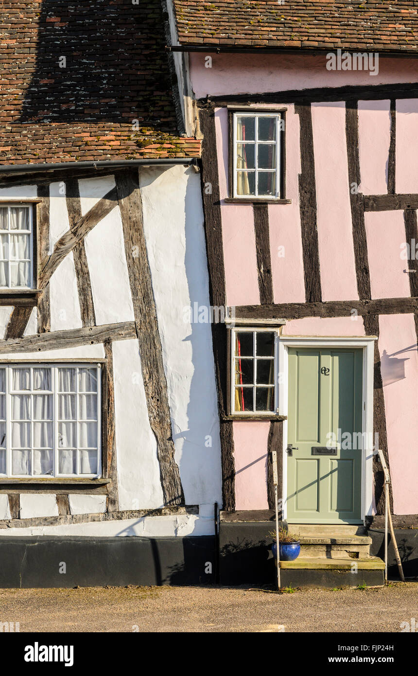 Half timbered medieval cottages in Lavenham, Suffolk, England,UK Stock Photo