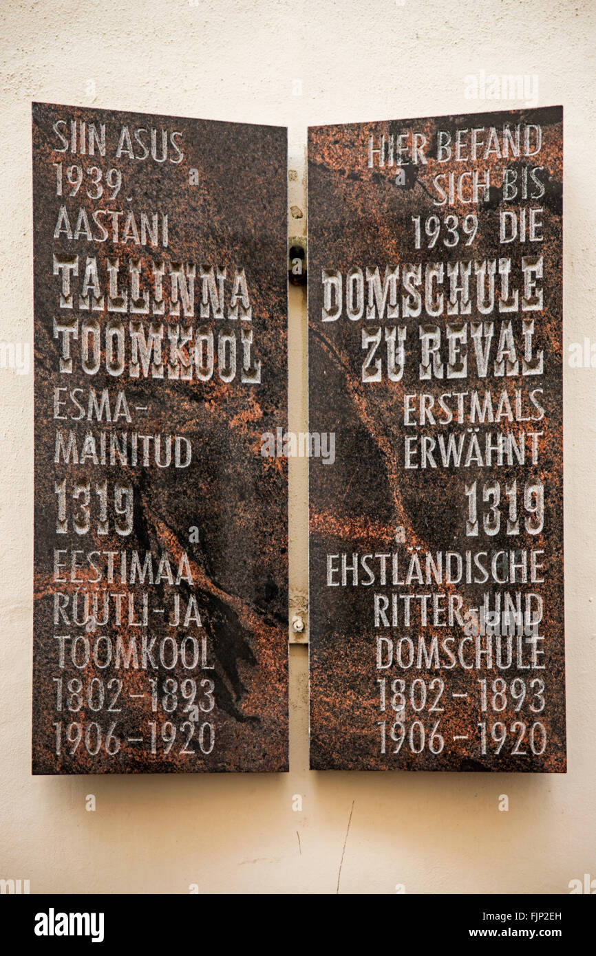 geography / travel, Estonia, Tallinn, information board about German knights, Additional-Rights-Clearance-Info-Not Stock Photo