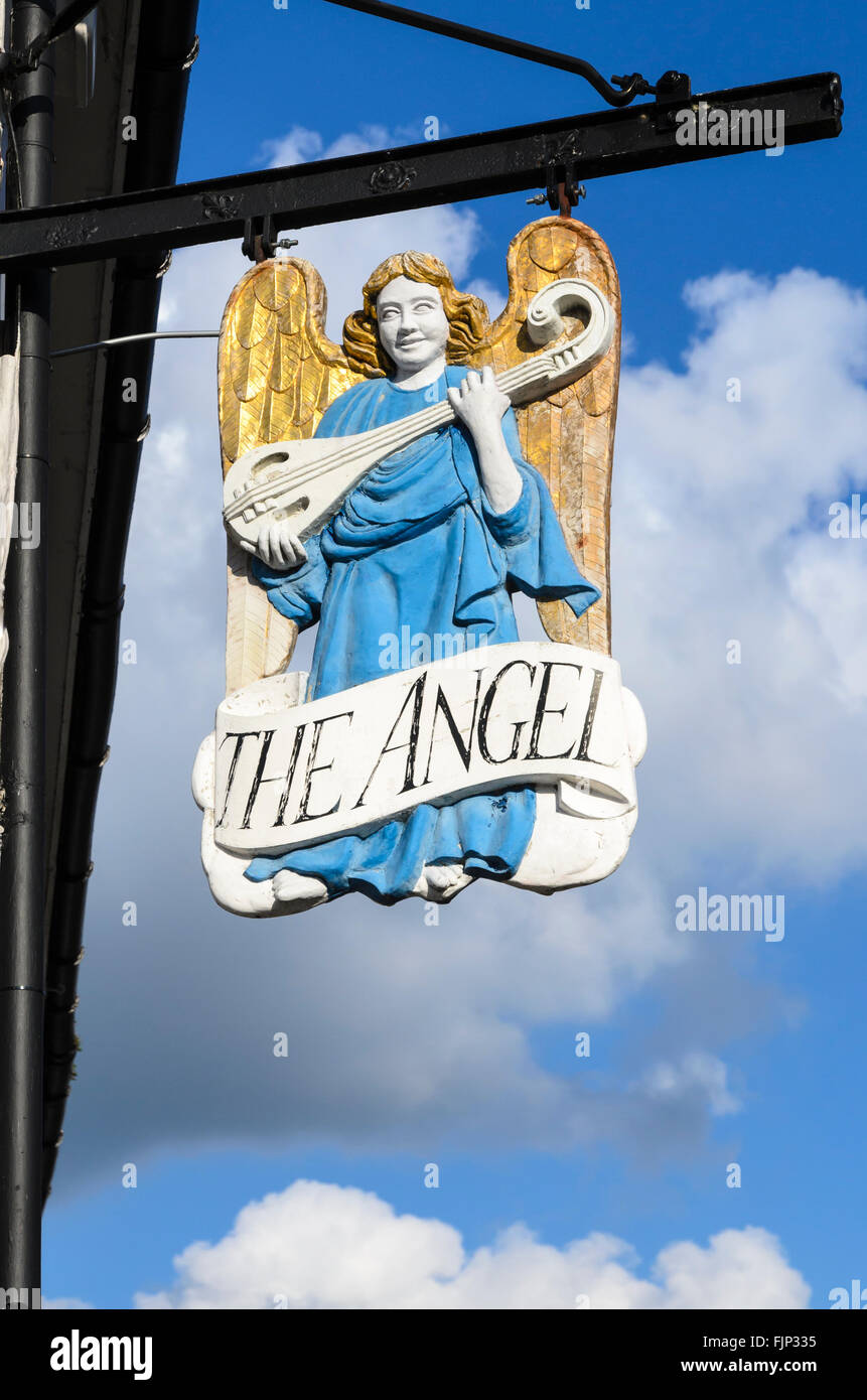 The traditional pub sign of The Angel pub, Lavenham, Suffolk, England, UK. Stock Photo