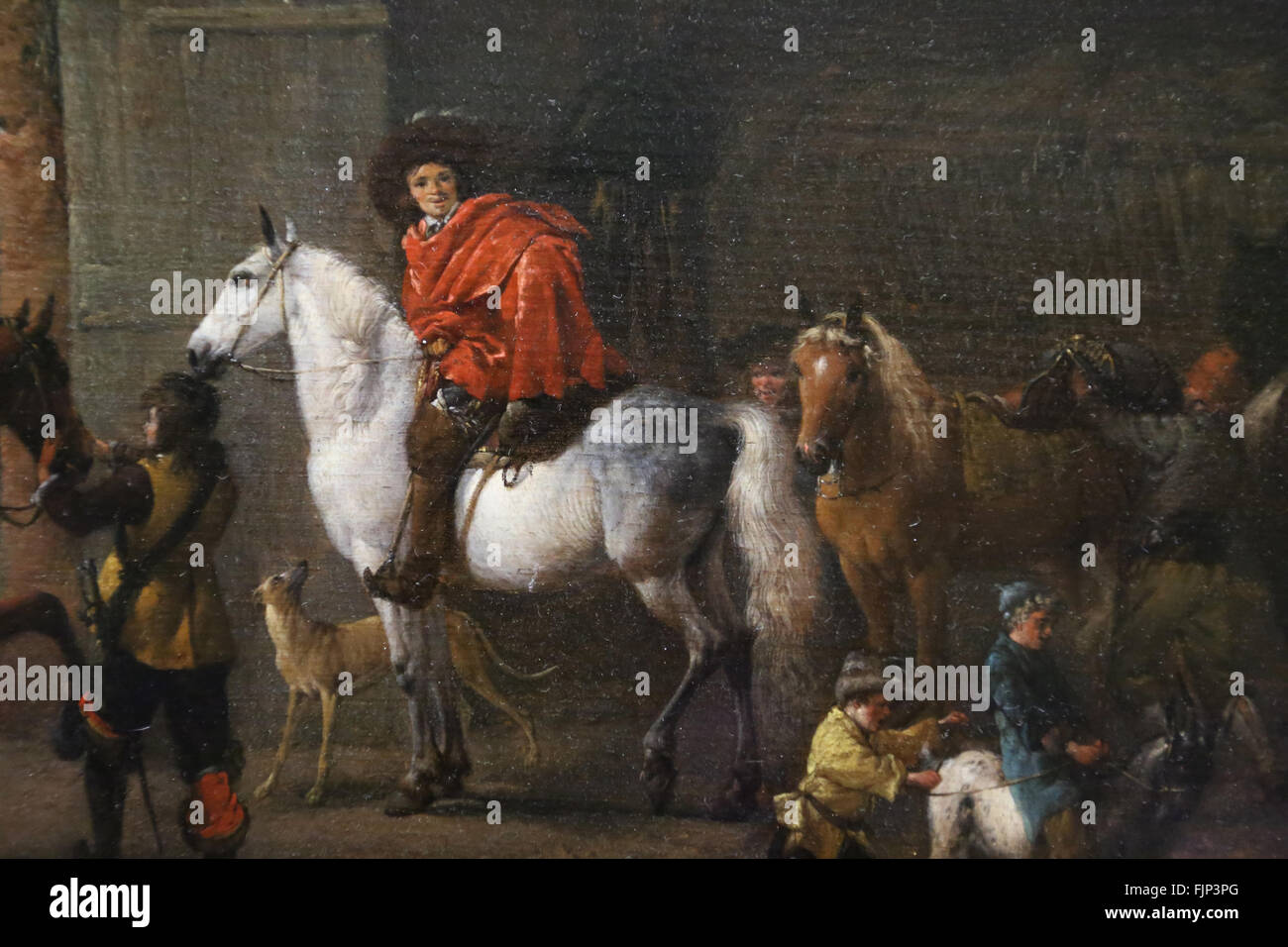 Philips Wouwerman (1619-1668). Dutch painter. Outgoing riders of a stable. 1650-1660. Louvre Museum. Paris. France. - Stock Image
