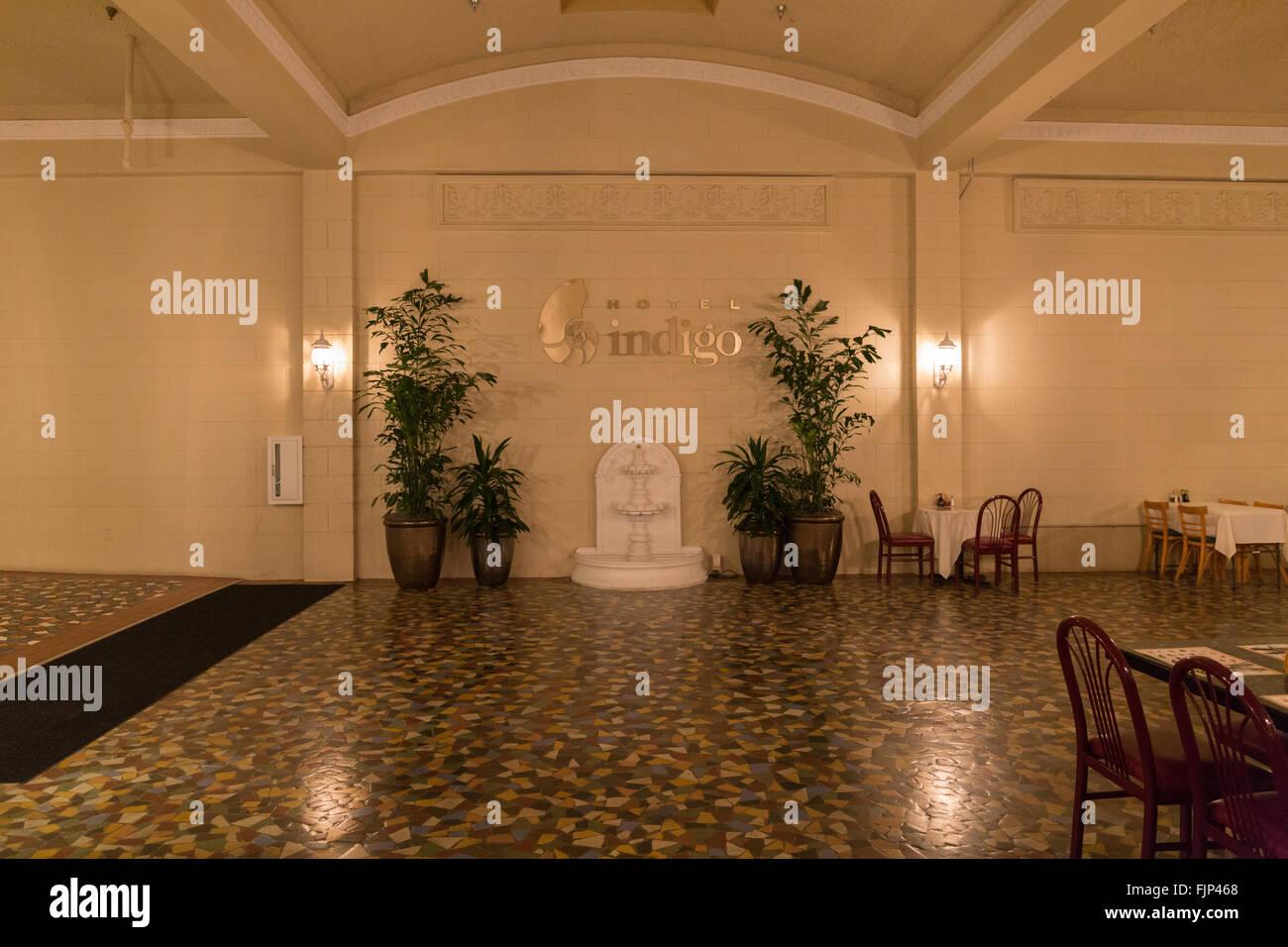 The entrance lobby of the Hotel Indigo Fort Myers Florida - Stock Image