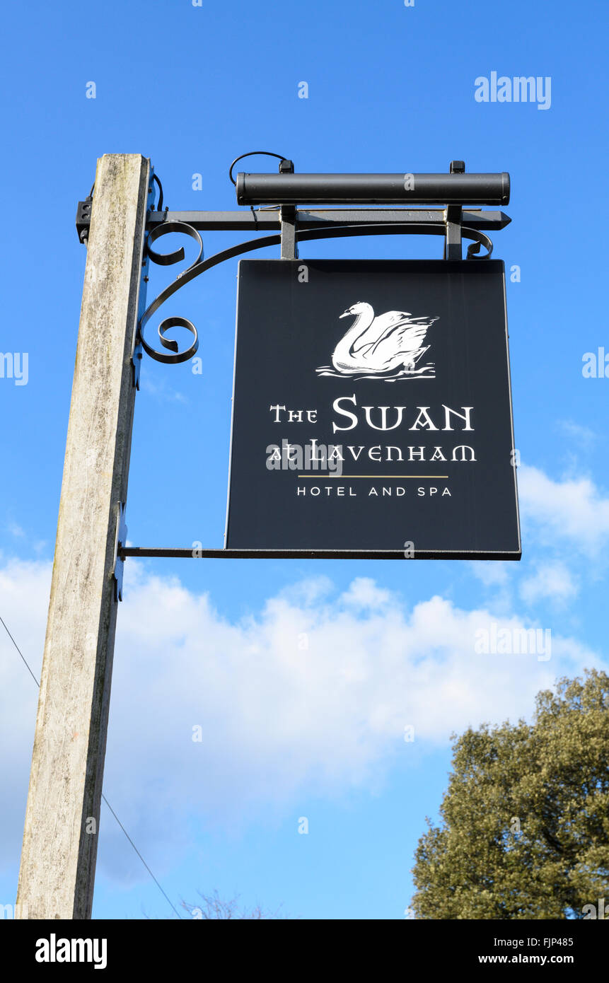 The pub sign of The Swan, Lavenham, Suffolk, England, UK.Stock Photo