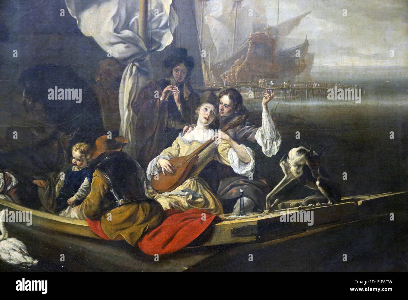 Jan Weenix (1640-1719). Dutch painter. Fantasy character in a boat, 1666. Louvre Museum. Paris. France. - Stock Image