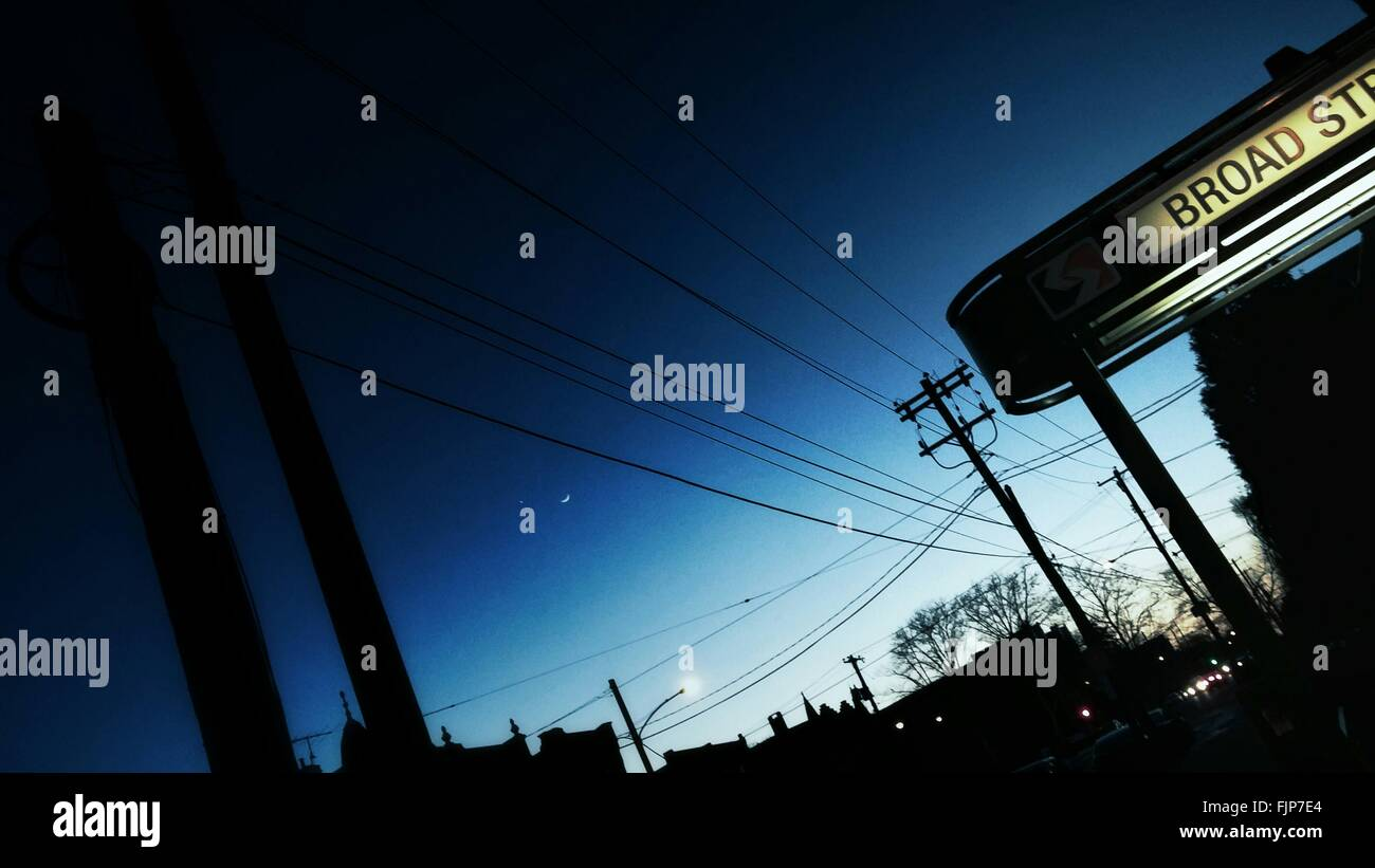 Town Street At Night - Stock Image