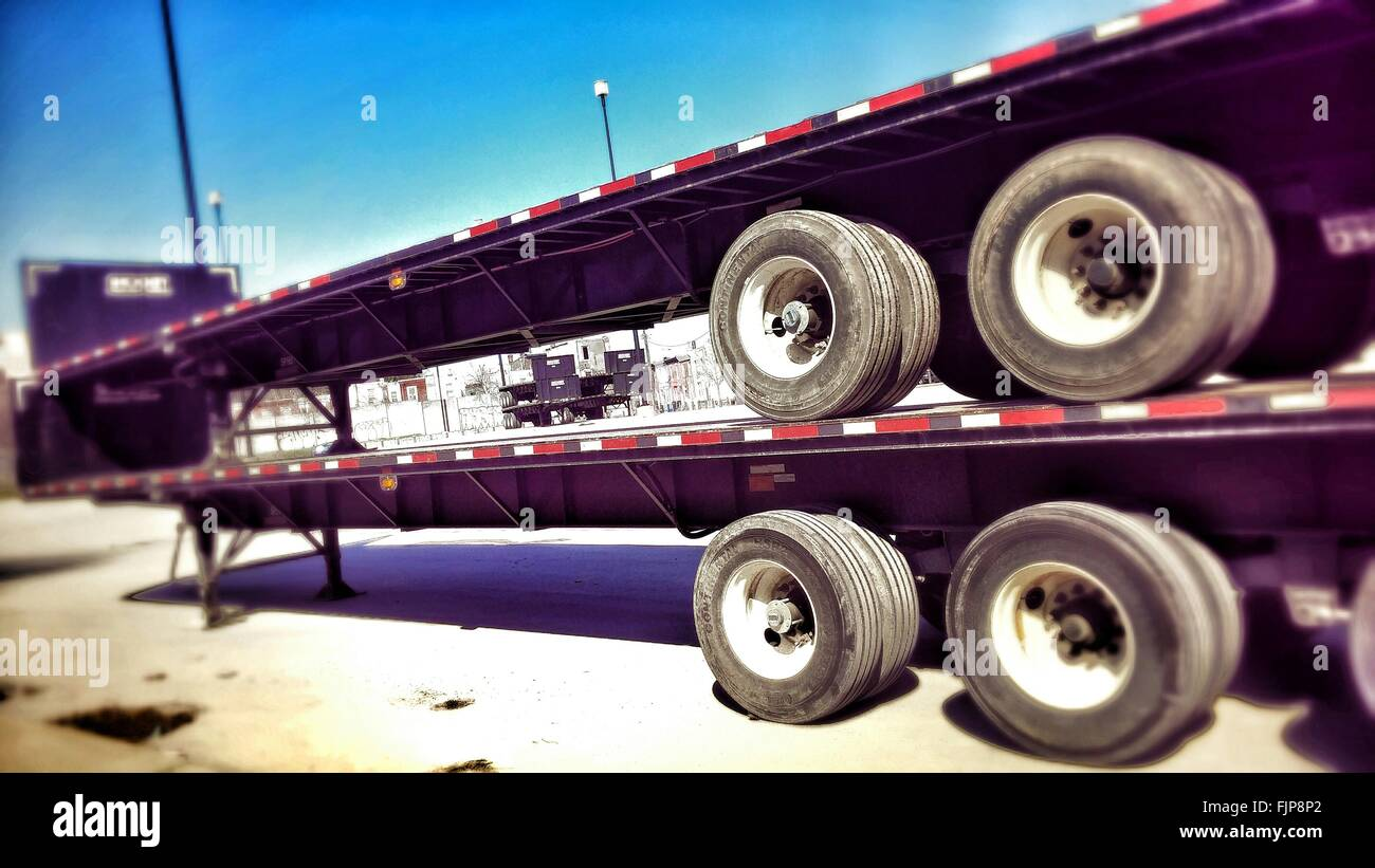 Vehicle Trailers In Parking Lot - Stock Image