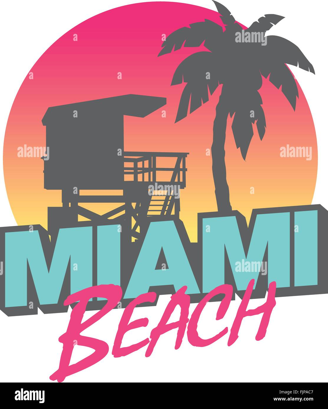 Colorful symbol of Miami beach with the famous house and ...