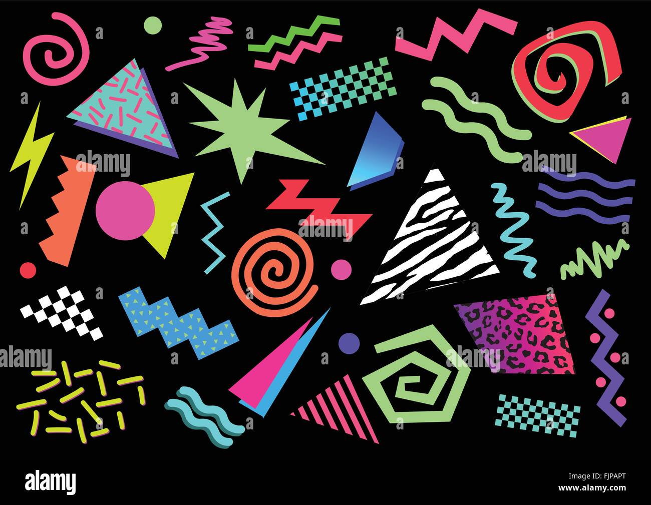Vector illustration of abstract shapes and bright colors from between the 80s and the 90s - Stock Vector