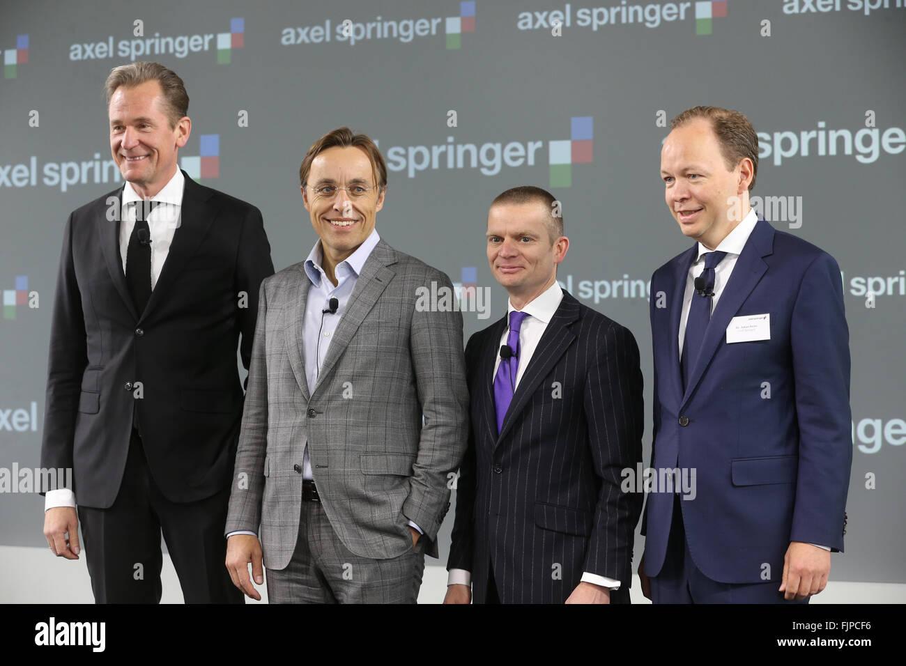 Berlin, Germany. 03rd Mar, 2016. Management baord of the German media publishing company Axel Springer SE, Mathias - Stock Image