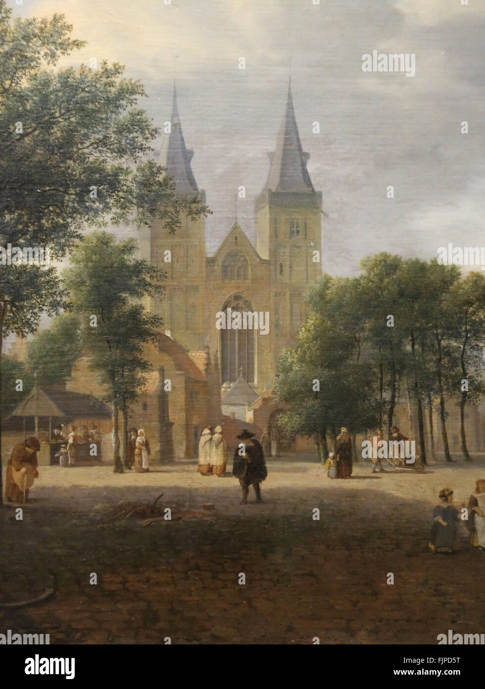 Jan van der Heyden (1637-1712). Dutch painter. Square and St Victor church, Xanten, Germany. 1692. Louvre Museum. - Stock Image