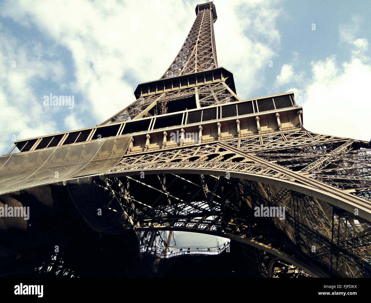 Low Angle View Of Eiffel Tower - Stock Image