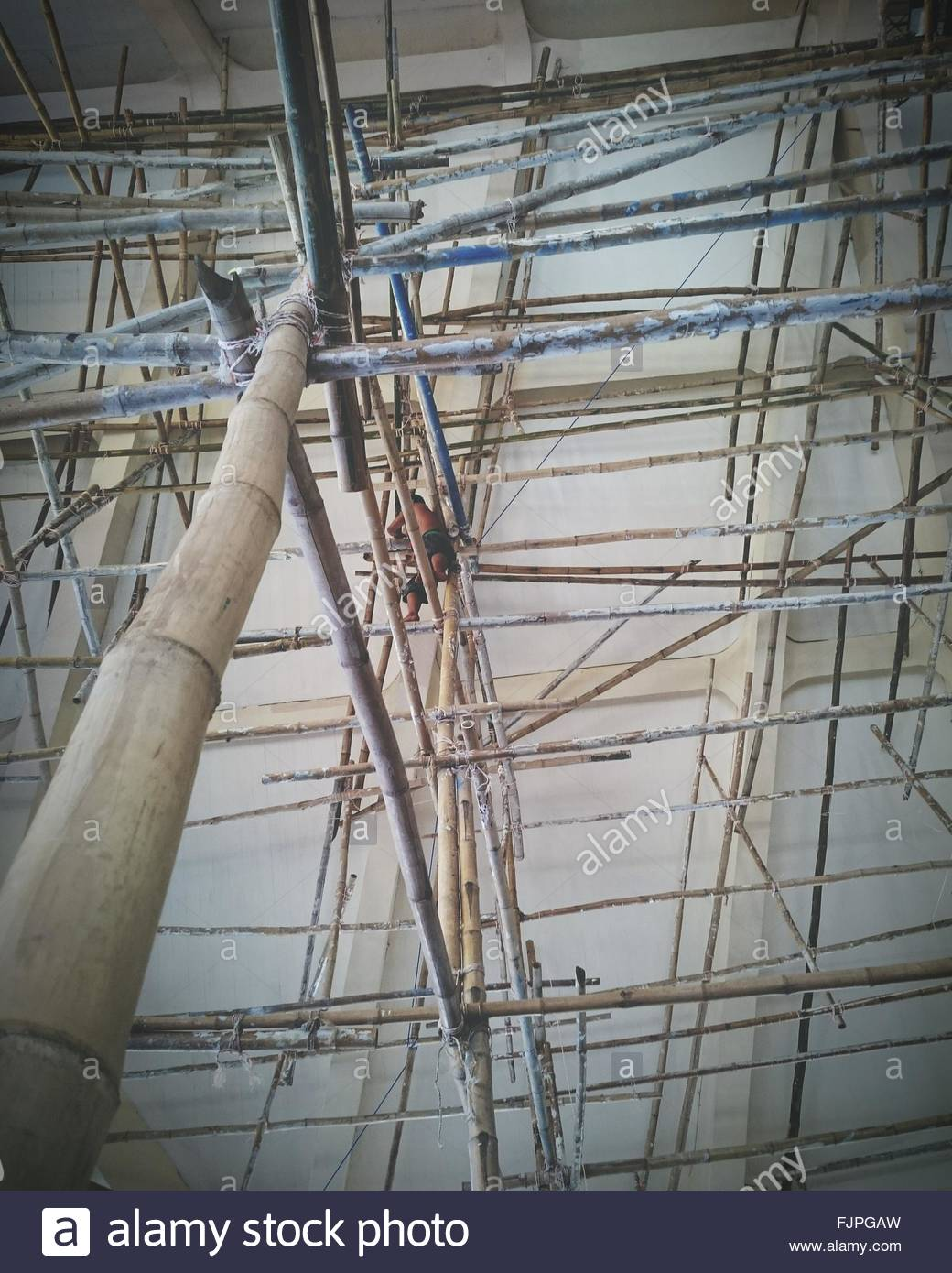 Low Angle View Of Bamboo Scaffolding - Stock Image