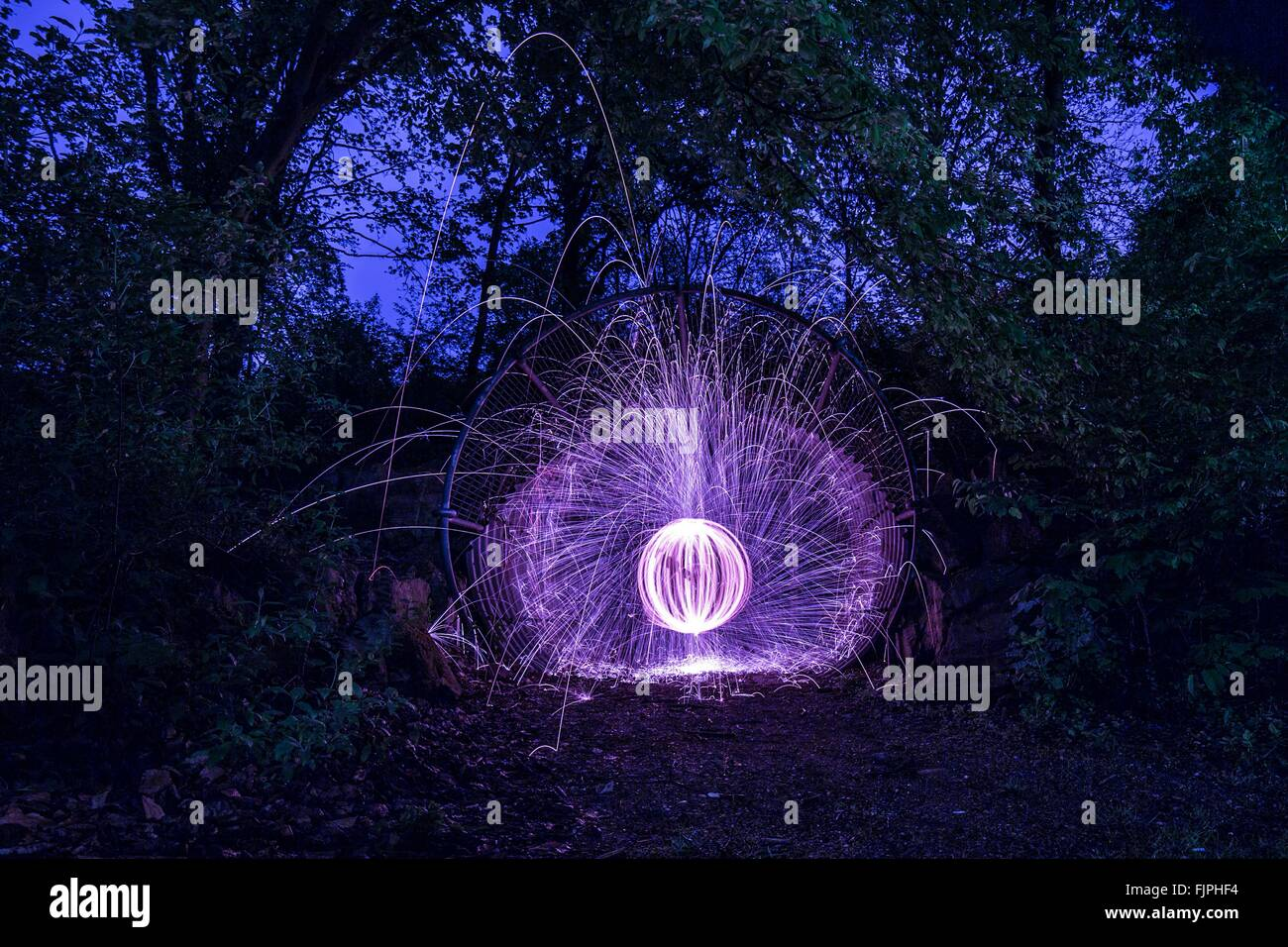 Ring Of Blue Fire At Night - Stock Image