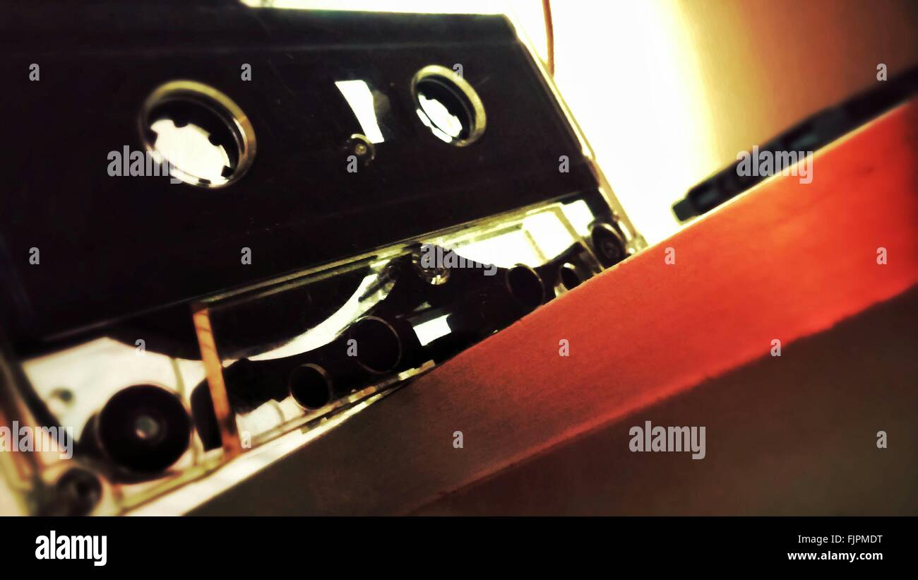 Low Angle View Of Audio Cassette On Table - Stock Image
