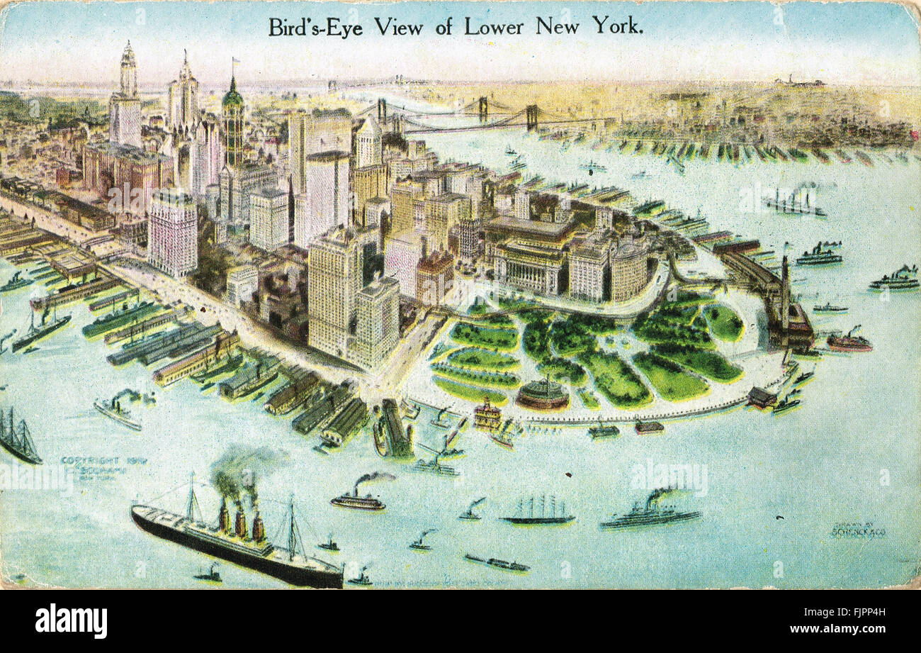 Bird's Eye View of New York Early 20th century Postcard - Stock Image