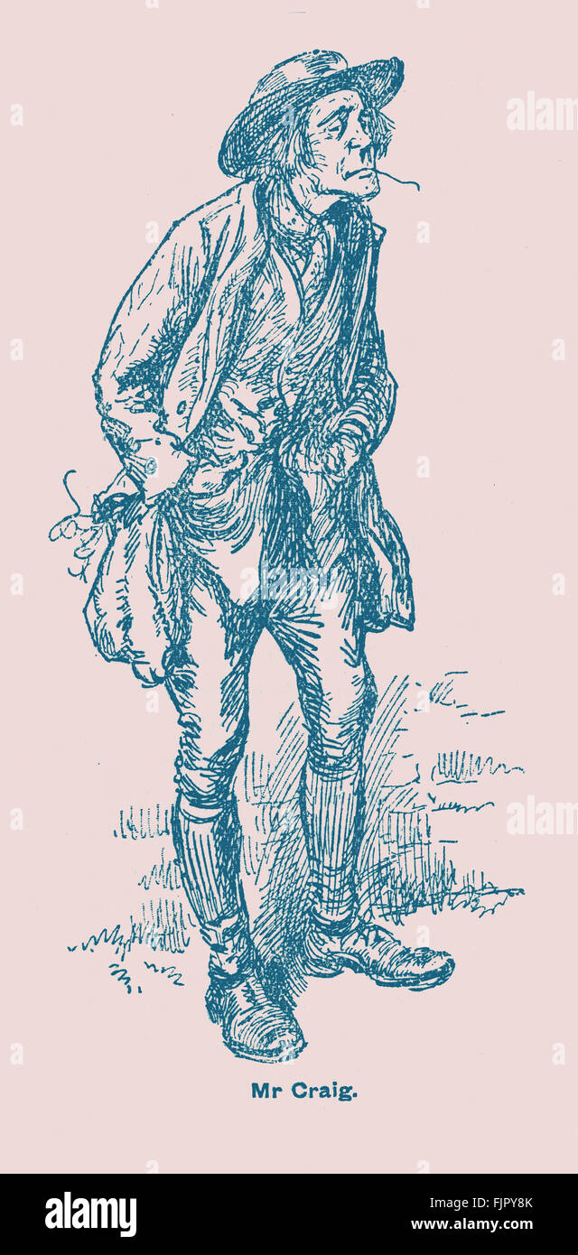 Adam Bede by George Eliot. Mr. Craig the gardener.  Illustrations by Gordon Browne.  GE - was a pen name for Mary - Stock Image