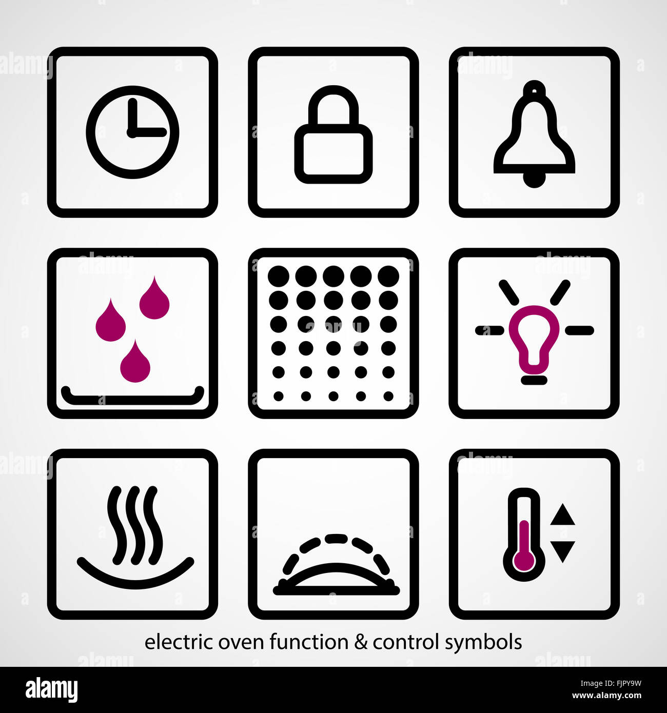 electric oven function control symbols outline icon collection stock photo 97620037 alamy. Black Bedroom Furniture Sets. Home Design Ideas