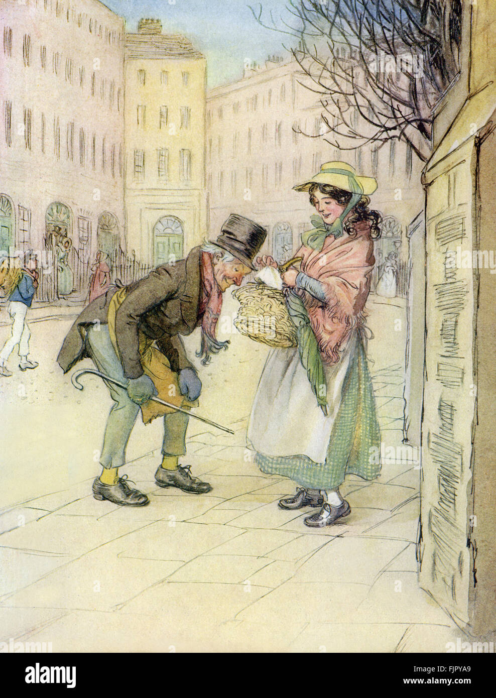 The Chimes by Charles Dickens. Illustrations by Hugh Thomson. First published 1844.  Caption reads: 'Meanwhile - Stock Image