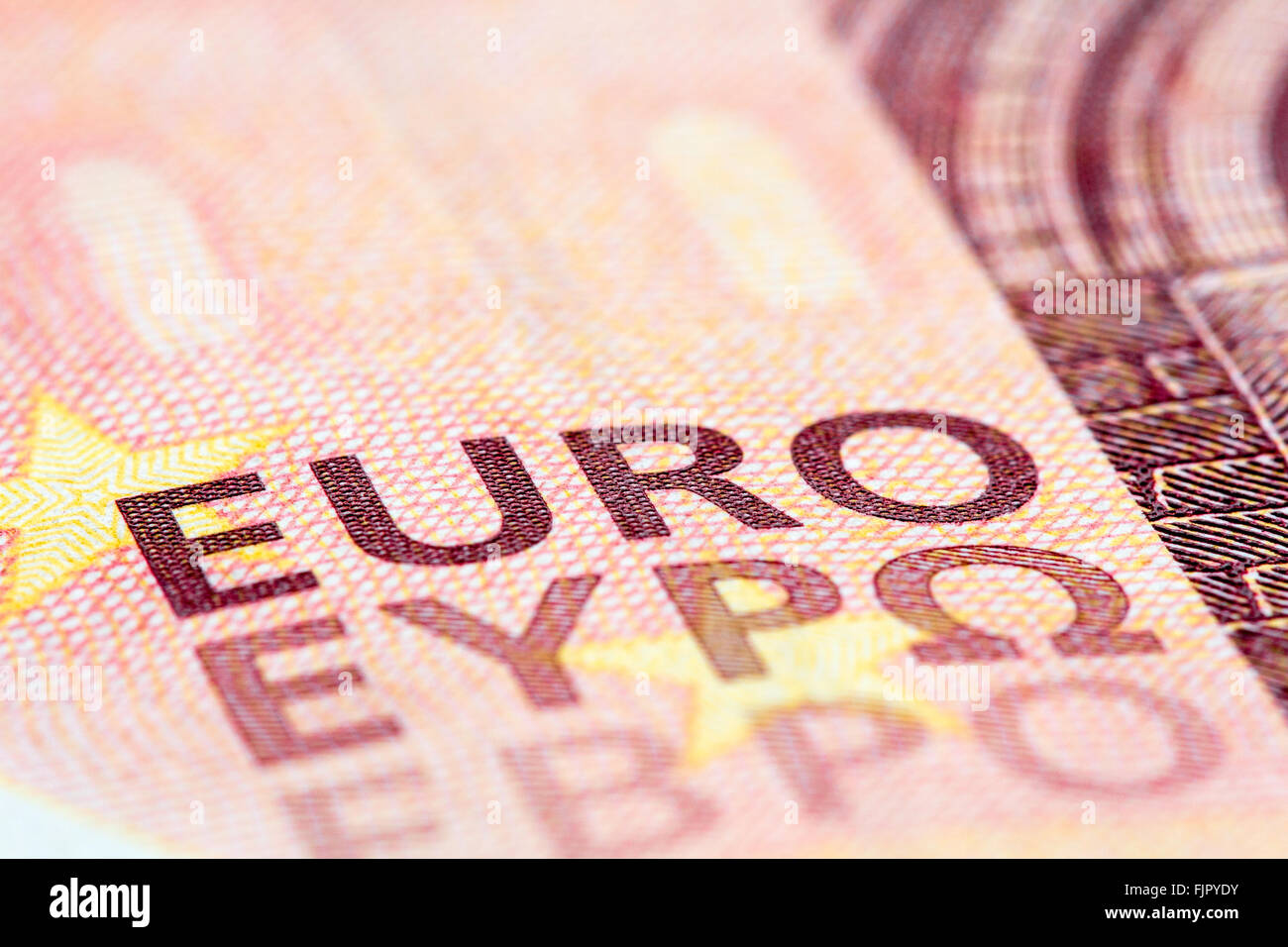 Detailed close up of a ten Euro banknote from Europe serie - Stock Image