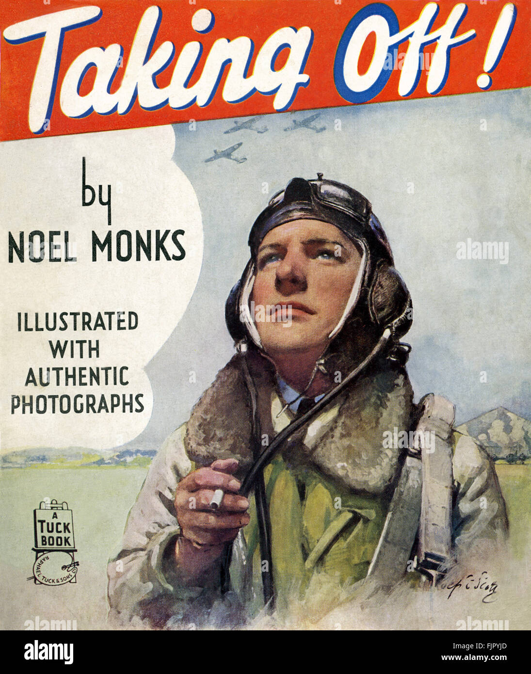 Cover for TAKING OFF! By Noel Monks, c 1940. airman holding cigarette. - Stock Image