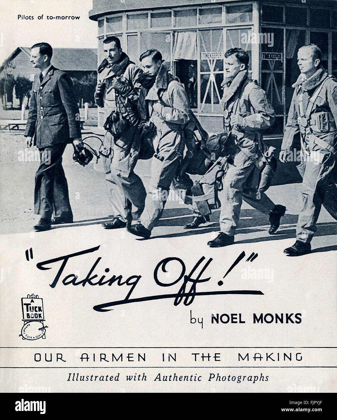 title page for  TAKING OFF! Our airmen in the making. By Noel Monks, c 1940. - Stock Image