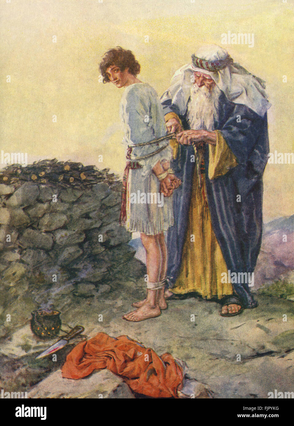 Abraham binds Isaac as a sacrifice. Caption reads: Is Isaac to die?  Genesis 22.  Illustration by C E Brock 1870 - Stock Image