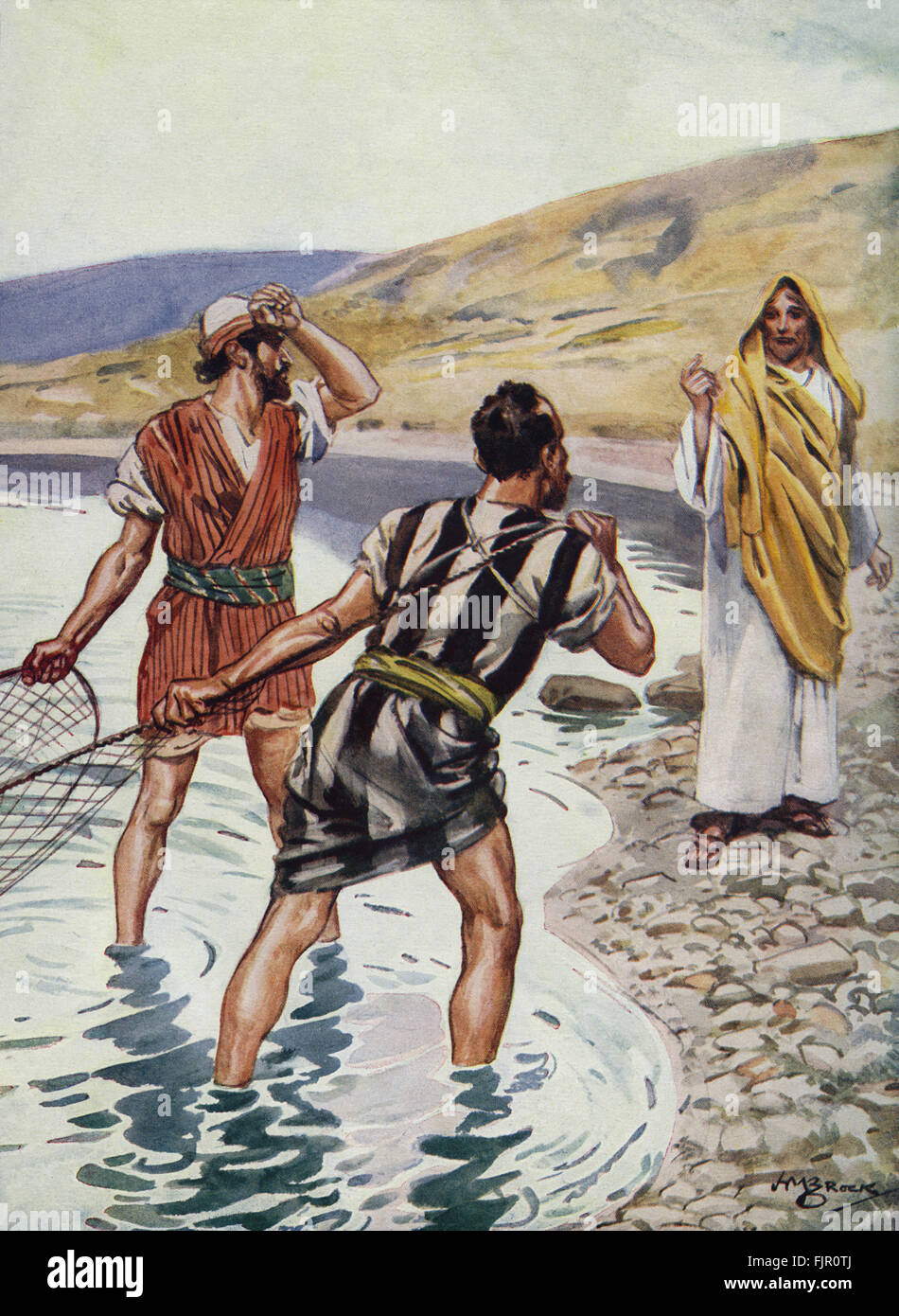 Jesus calls the fisherman Simon Peter and Andrew to become his disciples at the Sea of Galilee. 'And Jesus, - Stock Image